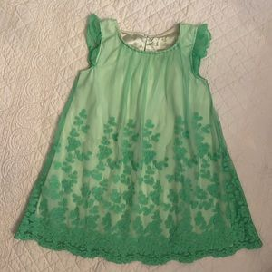 Cherokee Green Dress with Floral Lace Overlay